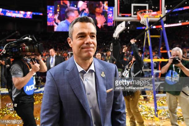 Head Coach Tony Bennett of the Virginia Cavaliers celebrates their victory over the Texas Tech Red Raiders during the 2019 NCAA Photos via Getty...