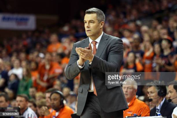 Head coach Tony Bennett of the Virginia Cavaliers claps in the second half during a game against the Notre Dame Fighting Irish at John Paul Jones...