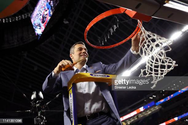 Head coach Tony Bennett of the Virginia Cavaliers cuts down the net after his teams 85-77 win over the Texas Tech Red Raiders in the 2019 NCAA men's...