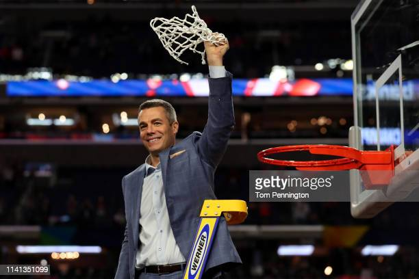 Head coach Tony Bennett of the Virginia Cavaliers cuts down the net after his teams 8577 win over the Texas Tech Red Raiders in the 2019 NCAA men's...