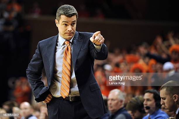 Head coach Tony Bennett of the Virginia Cavaliers points to a player during a game against the Duke Blue Devils at John Paul Jones Arena on February...