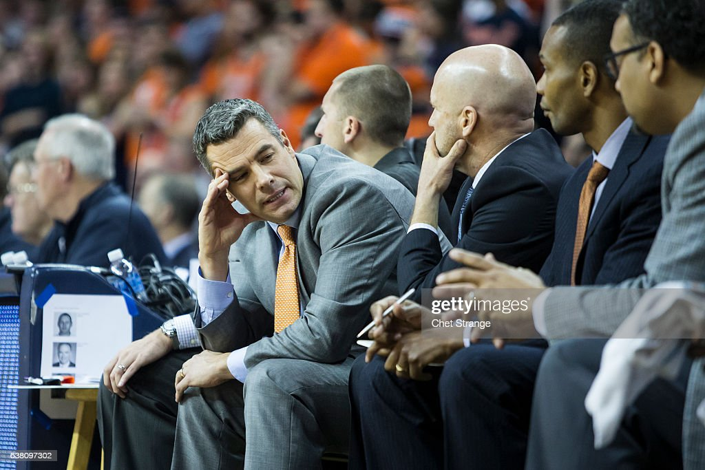 Head coach Tony Bennett of the Virginia Cavaliers reacts after a call during Virginia's game against the Wake Forest Demon Deacons at John Paul Jones Arena on January 8, 2017 in Charlottesville, Virginia.