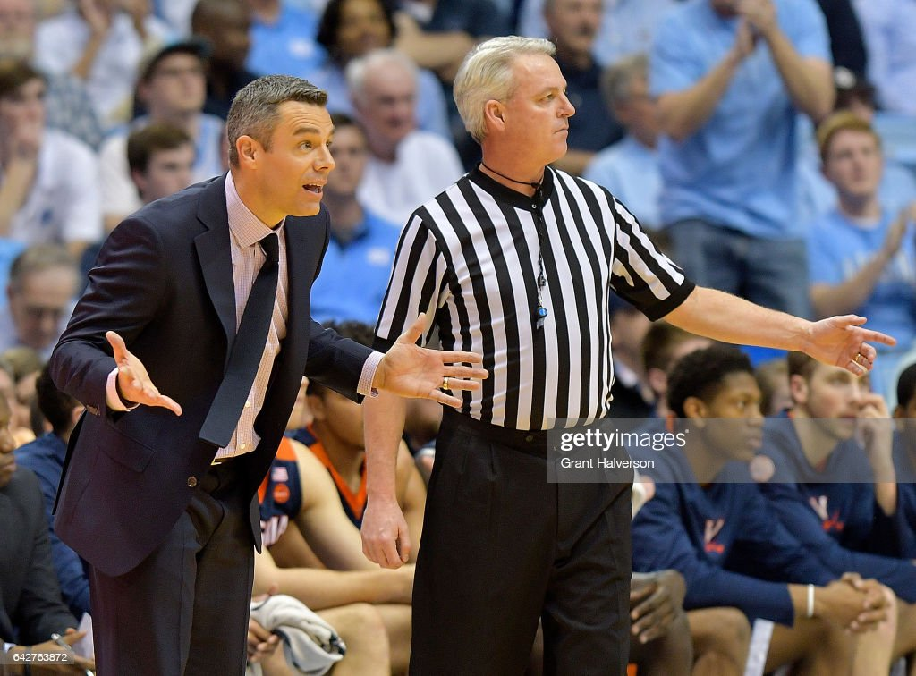 Head coach Tony Bennett of the Virginia Cavaliers reacts during the game against the North Carolina Tar Heels at the Dean Smith Center on February 18, 2017 in Chapel Hill, North Carolina.