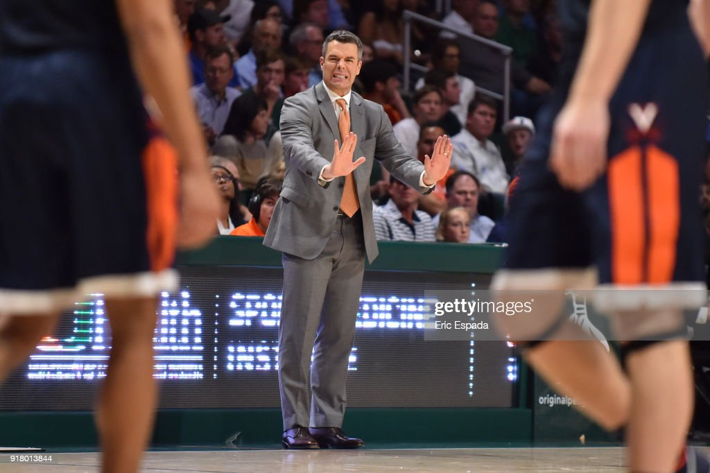 Head coach Tony Bennett of the Virginia Cavaliers reacts during the second half of the game against the Miami Hurricanes at The Watsco Center on February 13, 2018 in Miami, Florida.