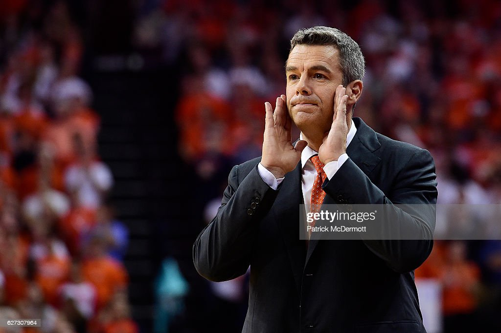 Head coach Tony Bennett of the Virginia Cavaliers reacts in the first half during a game against the Ohio State Buckeyes at John Paul Jones Arena on November 30, 2016 in Charlottesville, Virginia. The Cavaliers defeated the Buckeyes 63-61.