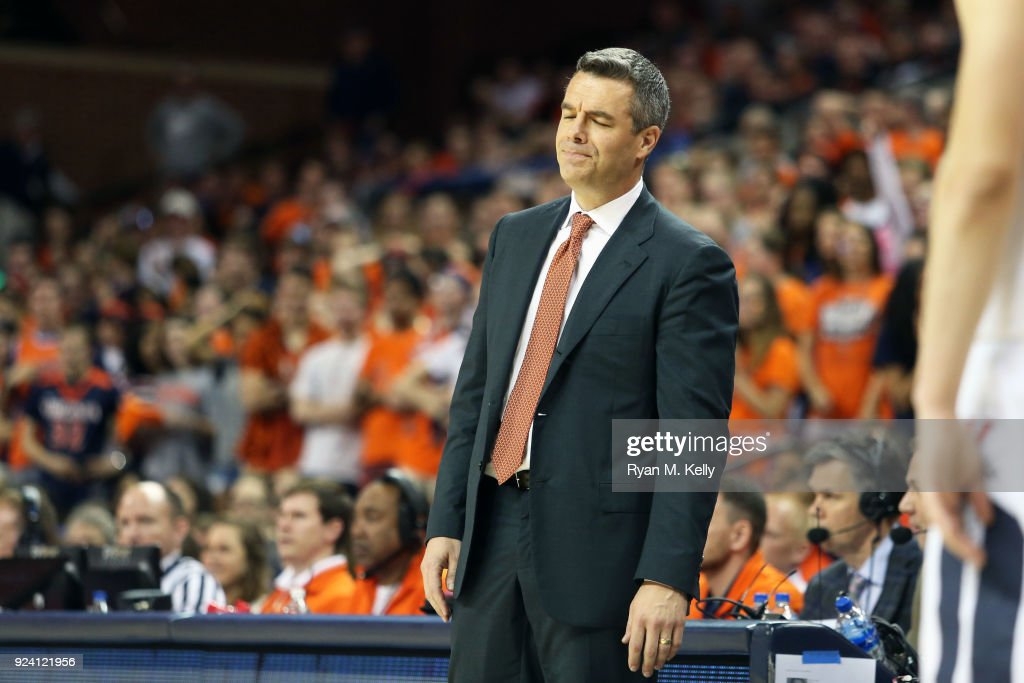 Head coach Tony Bennett of the Virginia Cavaliers reacts to a call in the second half during a game against the Georgia Tech Yellow Jackets at John Paul Jones Arena on February 21, 2018 in Charlottesville, Virginia. Virginia defeated Georgia Tech 65-54.