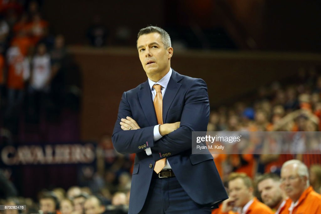 Head coach Tony Bennett of the Virginia Cavaliers reacts to a play in the second half during a game against the North Carolina Greensboro Spartans at John Paul Jones Arena on November 10, 2017 in Charlottesville, Virginia.