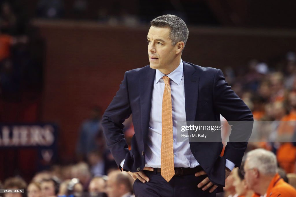 head coach Tony Bennett of the Virginia Cavaliers reacts to a play in the first half during a game against the Davidson Wildcats at John Paul Jones Arena on December 16, 2017 in Charlottesville, Virginia.