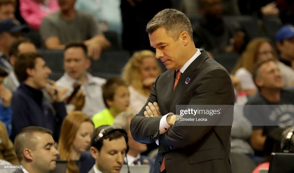 Head coach Tony Bennett of the Virginia Cavaliers reacts to their 74-54 loss to the UMBC Retrievers during the first round of the 2018 NCAA Men's Basketball Tournament at Spectrum Center on March 16, 2018 in Charlotte, North Carolina.