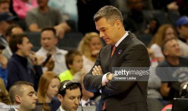 Head coach Tony Bennett of the Virginia Cavaliers reacts to their 7454 loss to the UMBC Retrievers during the first round of the 2018 NCAA Men's...