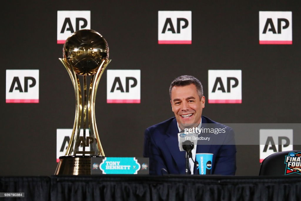 Head coach Tony Bennett of the Virginia Cavaliers speaks with the media during a press conference after being announced as the Associated Press Men's College Basketball Coach of the Year during media day for the 2018 Men's NCAA Final Four at the Alamodome on March 29, 2018 in San Antonio, Texas.