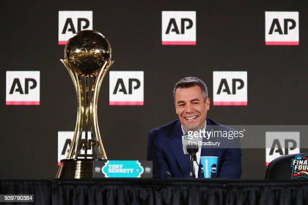 Head coach Tony Bennett of the Virginia Cavaliers speaks with the media during a press conference after being announced as the Associated Press Men's...