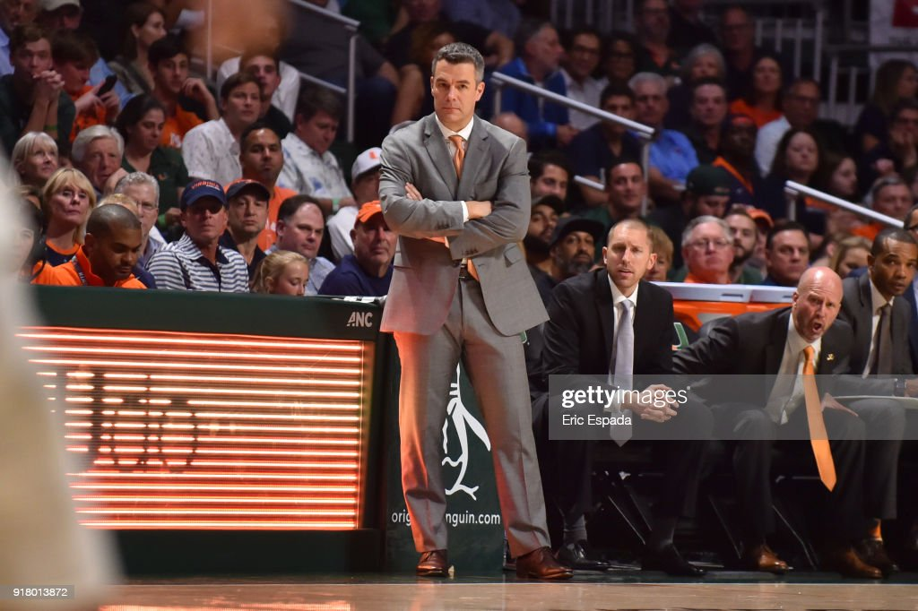 Head coach Tony Bennett of the Virginia Cavaliers watches his team during the second half of the game against the Miami Hurricanes at The Watsco Center on February 13, 2018 in Miami, Florida.