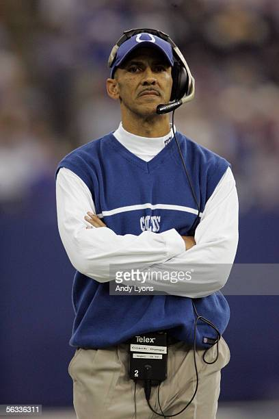 Head Coach Tony Dungy of the Indianapolis Colts watches the game against the Pittsburg Steelers on November 28 2005 at the RCA Dome in Indianapolis...