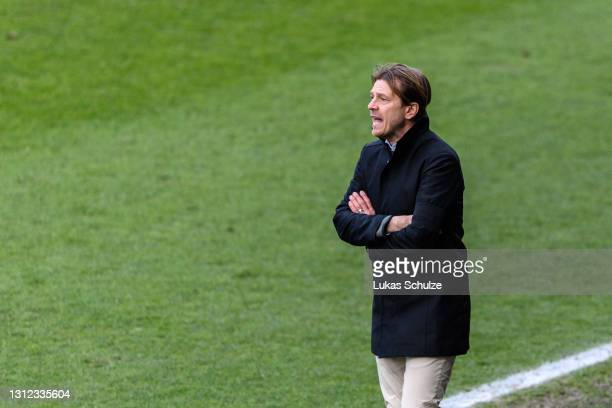 Head Coach Tony Gustavsson of Australia looks on during the International Friendly between Netherlands and Australia at Stadion de Goffert on April...
