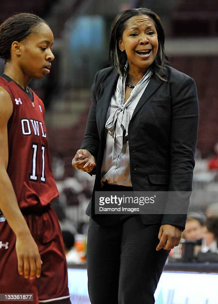 Head coach Tonya Cardoza of the Temple Owls reacts to her teams performance during a time out during a game with the Ohio State Buckeyes at Value...