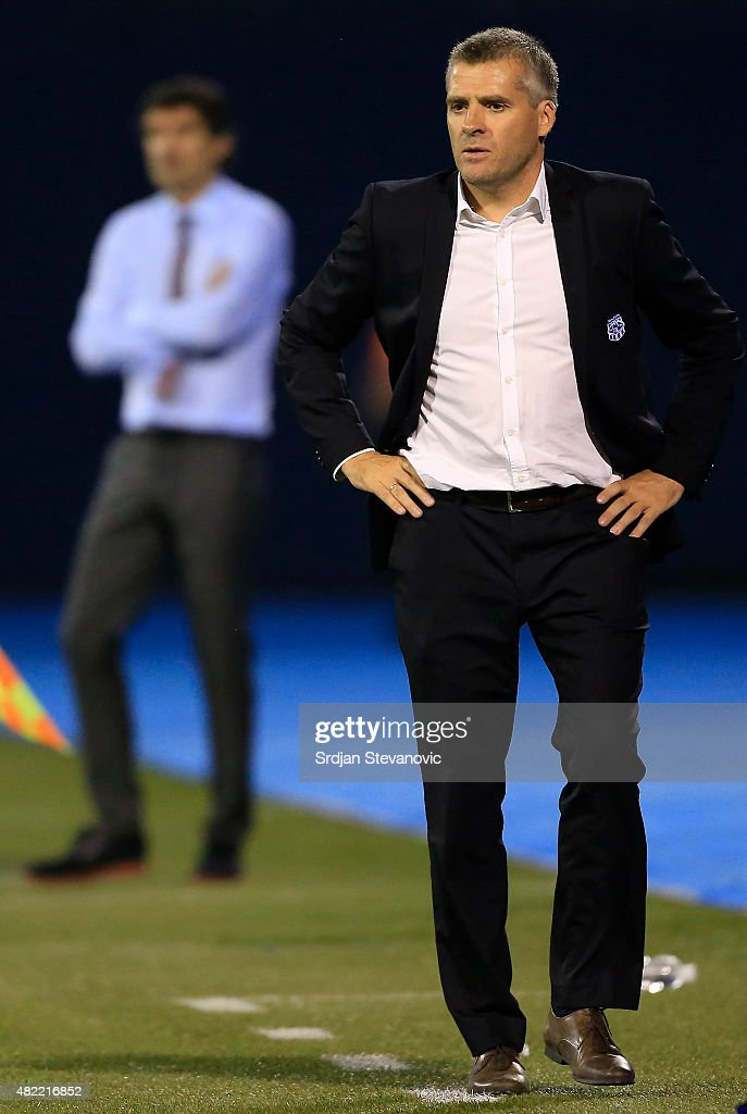 Head coach Tor Ole Skullerud (R) of FC Molde reacts during the UEFA Champions League Third Qualifying Round 1st Leg match between FC Dinamo Zagreb and FC Molde at Maksimir stadium on July 28, 2015 in Zagreb, Croatia.