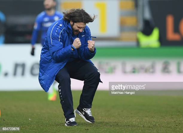 Head coach Torsten Frings of Darmstadt celebrates after his team's second goal during the Bundesliga match between SV Darmstadt 98 and Borussia...