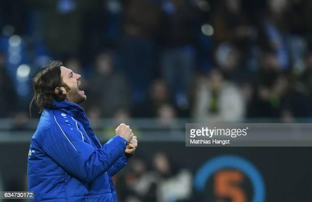 Head coach Torsten Frings of Darmstadt celebrates after the Bundesliga match between SV Darmstadt 98 and Borussia Dortmund at Stadion am...