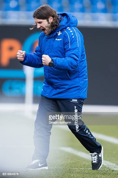 Head coach Torsten Frings of Darmstadt celebrates his team's second goal during the Friendly Match between SV Darmstadt 98 and VfL Bochum at...