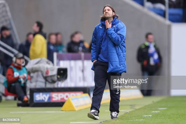 Head coach Torsten Frings of Darmstadt reacts during the Bundesliga match between TSG 1899 Hoffenheim and SV Darmstadt 98 at Wirsol RheinNeckarArena...