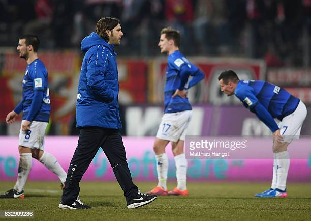 Head coach Torsten Frings of Darmstadt shows his disappointment after the Bundesliga match between SV Darmstadt 98 and 1 FC Koeln at Stadion am...