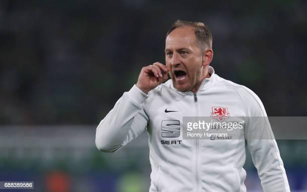 Head coach Torsten Lieberknecht of Braunschweig gestures during the Bundesliga Playoff first leg match between VfL Wolfsburg and Eintracht...