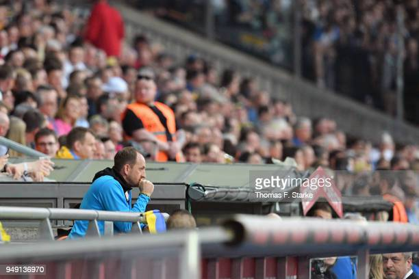 Head coach Torsten Lieberknecht of Braunschweig looks dejected after being sent to the main stand by the referee during the Second Bundesliga match...