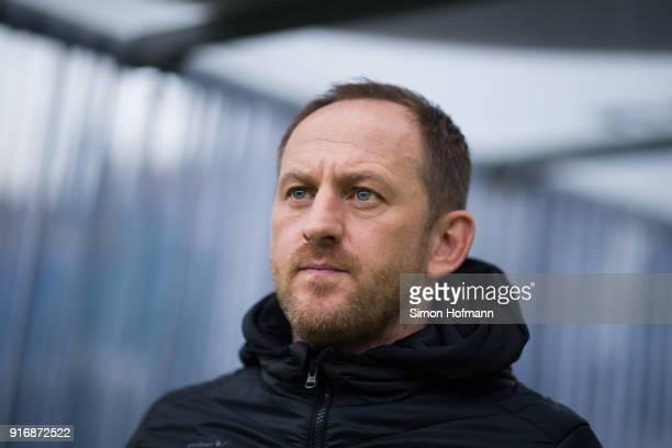 Head coach Torsten Lieberknecht of Braunschweig looks on prior to the Second Bundesliga match between SV Sandhausen and Eintracht Braunschweig at...