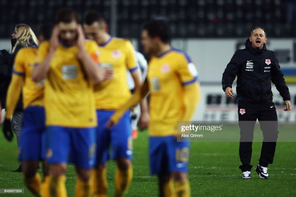 Head coach Torsten Lieberknecht of Braunschweig reacts after the Second Bundesliga match between SV Sandhausen and Eintracht Braunschweig at Hardtwaldstadion on February 24, 2017 in Sandhausen, Germany.