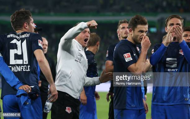 Head coach Torsten Lieberknecht of Braunschweig reacts after the Bundesliga Playoff first leg match between VfL Wolfsburg and Eintracht Braunschweig...
