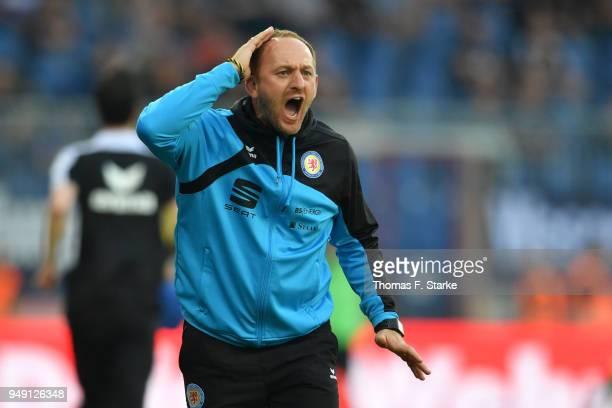 Head coach Torsten Lieberknecht of Braunschweig reacts during the Second Bundesliga match between Eintracht Braunschweig and DSC Arminia Bielefeld at...
