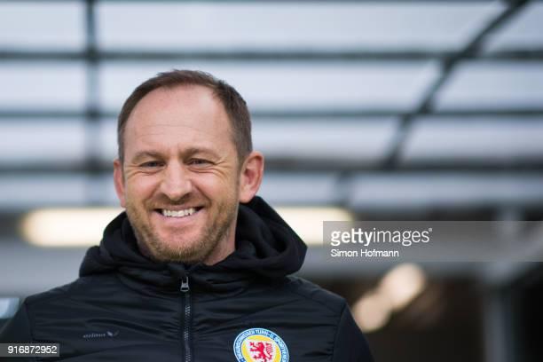 Head coach Torsten Lieberknecht of Braunschweig smiles prior to the Second Bundesliga match between SV Sandhausen and Eintracht Braunschweig at...