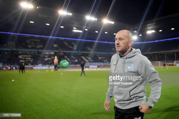 Head coach Torsten Lieberknecht of Duisburg looks on prior to the Second Bundesliga match between MSV Duisburg and FC St Pauli at...