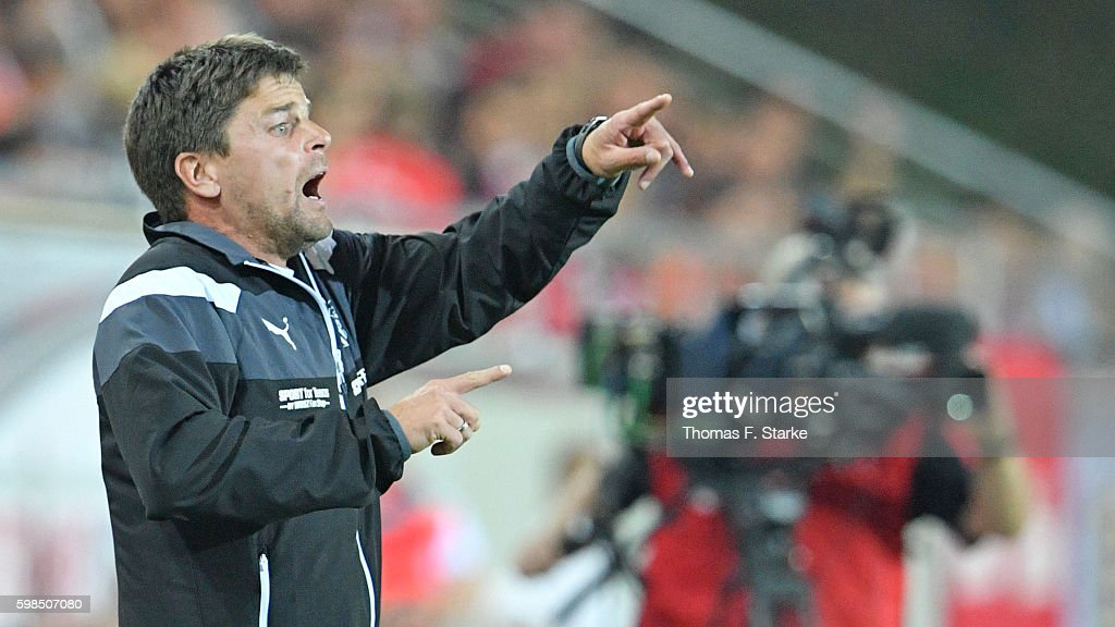 Head coach Torsten Ziegner of Zwickau reacts during the Third League match between FSV Zwickau and 1. FC Magdeburg at Stadion Zwickau on September 1, 2016 in Zwickau, Germany.