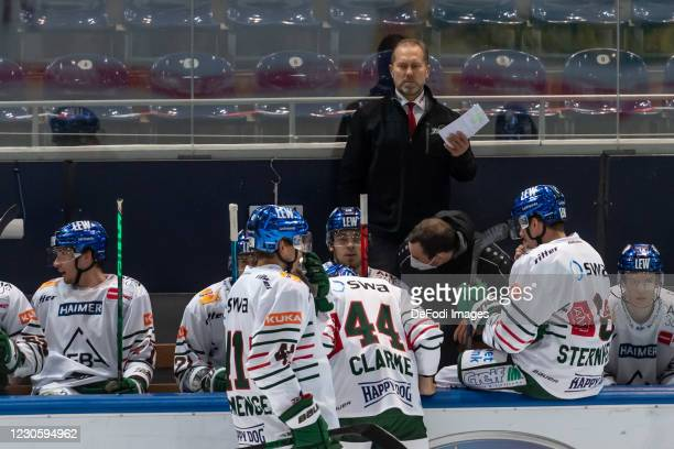Head coach Tray Tuomie of Augsburger Panther looks on during the DEL match between EHC Red Bull Muenchen and Augsburger Panther on January 12, 2021...