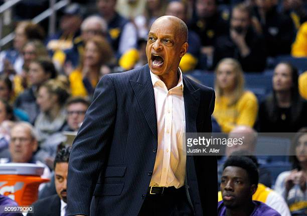 Head coach Trent Johnson of TCU reacts during the game against the West Virginia Mountaineers at the WVU Coliseum on February 13 2016 in Morgantown...