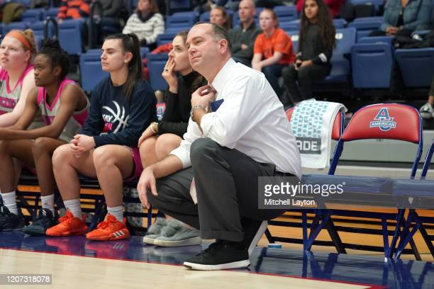 Head coach Trevor Woodruff of the Bucknell Bison looks on during a women's college basketball game against the American Eagles at the Bender Arena on...