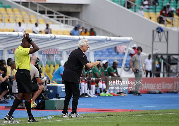 Head coach Tunisian National Football Team Henryk Kasperczak during the 2017 Africa Cup of Nations quarterfinal football match between Burkina Faso...