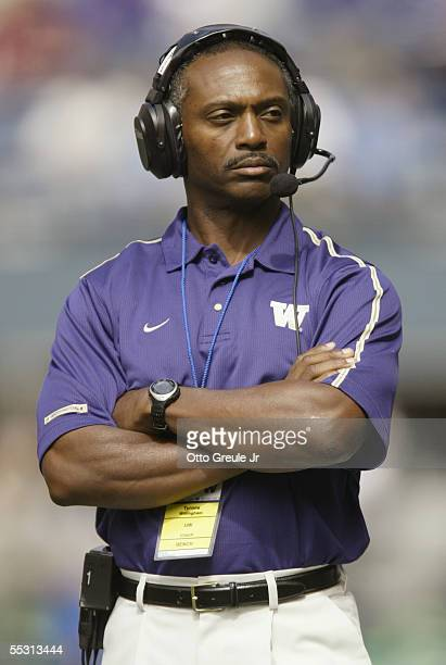 Head coach Tyrone Willingham of the Washington Huskies looks on against the Air Force Falcons at Quest Field on September 3 2005 in Seattle...