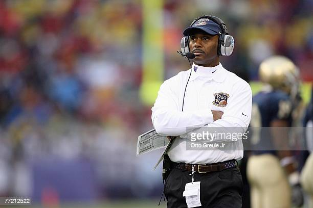 Head coach Tyrone Willingham of the Washington Huskies looks on during the game against the USC Trojans at Husky Stadium on September 29, 2007 in...