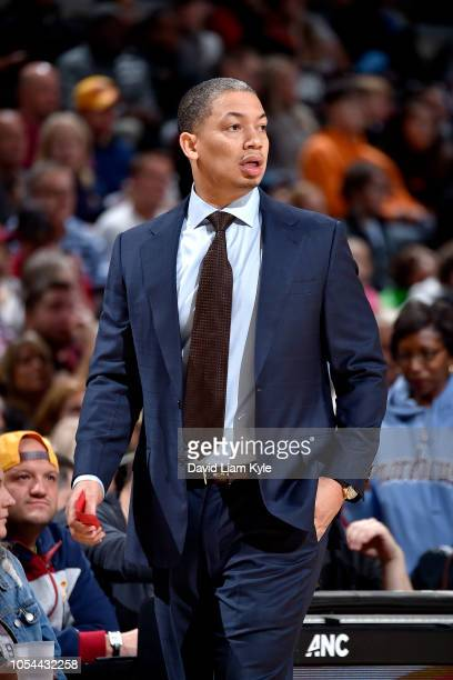 Head Coach Tyronn Lue of Cleveland Cavaliers looks on against the Indiana Pacers on October 27 2018 at Quicken Loans Arena in Cleveland Ohio NOTE TO...