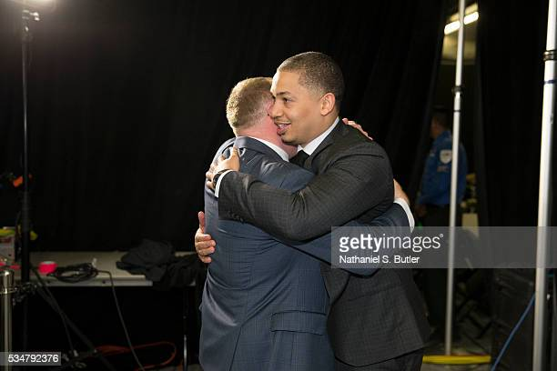 Head coach Tyronn Lue of the Cleveland Cavaliers and General Manager David Griffin celebrate after a victory in Game Six of the Eastern Conference...