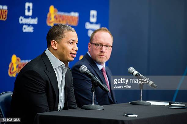 Head coach Tyronn Lue of the Cleveland Cavaliers and general manager David Griffin during media day at Cleveland Clinic Courts on September 26 2016...