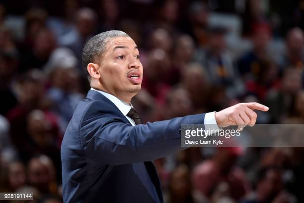 Head Coach Tyronn Lue of the Cleveland Cavaliers coaches during the game against the Detroit Pistons on March 5 2018 at Quicken Loans Arena in...