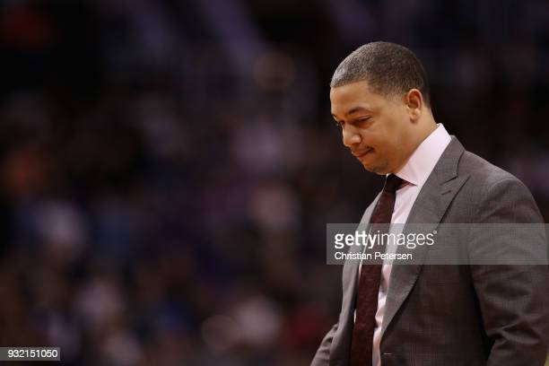 Head coach Tyronn Lue of the Cleveland Cavaliers during the first half of the NBA game against the Phoenix Suns at Talking Stick Resort Arena on...