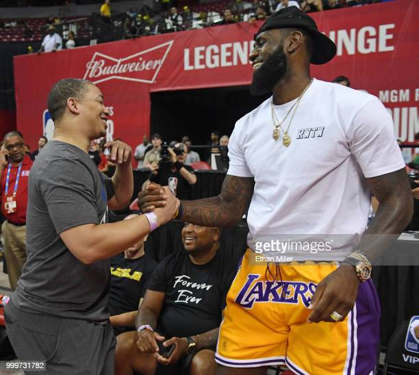 Head coach Tyronn Lue of the Cleveland Cavaliers greets LeBron James of the Los Angeles Lakers after a quarterfinal game of the 2018 NBA Summer...