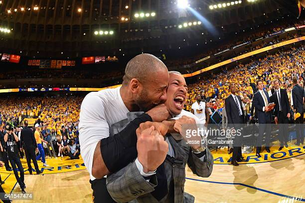 Head Coach Tyronn Lue of the Cleveland Cavaliers is pumped up after winning the game against the Golden State Warriors during the 2016 NBA Finals...