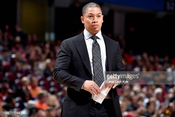 Head Coach Tyronn Lue of the Cleveland Cavaliers looks on against the Boston Celtics during a preseason game on October 6 2018 at Quicken Loans Arena...