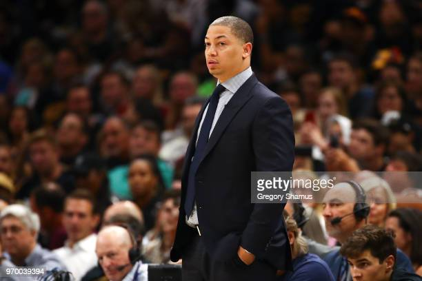 Head coach Tyronn Lue of the Cleveland Cavaliers looks on against the Golden State Warriors in the first half during Game Four of the 2018 NBA Finals...